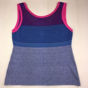 Nanette Lepore Pink & Blue Linen Knit Striped Tank